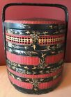 Antique Chinese Stacking Wedding Basket Black   Red W  Gold Painted Designs
