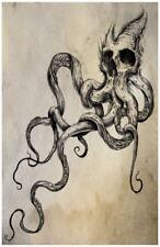 Skull Octopus Tentacles Tattoo Poster Print Original Art 11x17 Dark Creepy