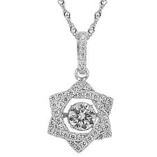 """Sterling Silver Jewish Star Dancing White CZ Pendant, 17.5"""" Extension Chain"""