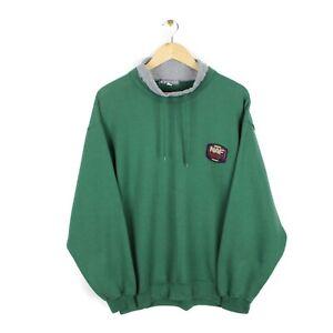 Naf Naf Vintage 90s Mens Drawstring Crew Neck Green Sweatshirt - Size L