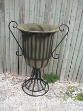 "24"" Wrought Iron Urn Planter - Metal Garden Flower Pot w/ Traditional Style"