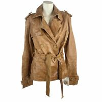 Zara Women's Size Small S Brown Distressed Leather Jacket Coat Belted MSRP $109