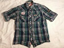 rolling paper nyc short sleeve button front shirt mens large weed pot stoner