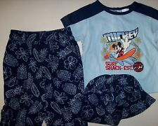 Mickey Mouse Shirt Pants Hat 3pc Set Baby Boys 3-6 Mos Blues Beach Scene