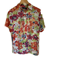 CALLAN DESIGNS Size 10 Women's Floral Short Sleeve Sheer Button Up Blouse Top