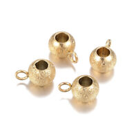10pcs 304 Stainless Steel Bail Beads Bumpy Hang Loop Gold Charm Holders 3mm Hole