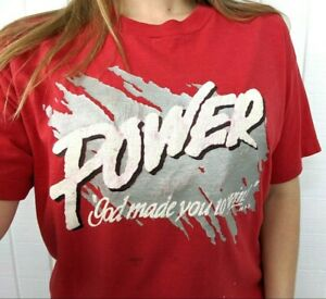 """Vintage Religious """"Power God Made you to Win"""" Graphic T Shirt - Single Stitch XL"""
