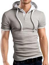 Mens Short Sleeve Casual Hoodie Sweatshirt Hooded Zipper Top Size M L XL HD03
