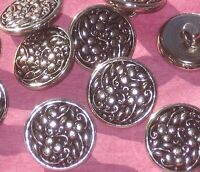 Delightful Set 10 BERRY FLOWER Floral Picture Vintage New SILVER Metal buttons