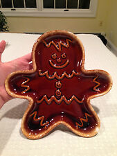 "VINTAGE HULL BROWN DRIP Gingerbread Cookie Man Plate Platter 10"" X 10"" EUC"