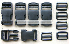 1 INCH ( 25mm ) BLACK STRAP WEBBING BUCKLES & SLIDES x 5
