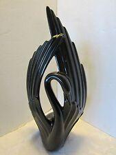 "Royal Haeger Pottery Black Swan Art Deco 20"" USA 1990 LABELED # 6038 Vintage"