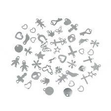 50pcs Assorted Stainless Steel Charms Pendants Fit Earrings Jewelry Diy Findings