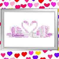 Wedding Word Art Keepsake SWANS Bride And Groom Gift Personalised her and him j