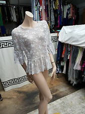 BNWT Lovely Atmosphere Grey Sheer All Lace See Through Top Blouse Size UK 12