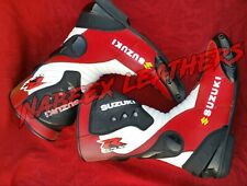 Suzuki GSXR Red Motorbike Motorcycle Racing Leather Boots-Motorradstiefel-botas