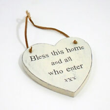 Bless This Home - Novelty Vintage Wall Plaque Sign with Leather Hanger