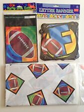 Football Party - (8 Counts) Loot Bags, Banner &Table Cover - 3 Pieces