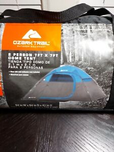 Ozark Trail 2 Person Dome Tent 7' x 7' Blue Easy Assembly Backpacking Camping