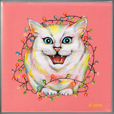 Cat, lights, garlands, New Year, Pink, Acrylic Original Painting Art, by artist