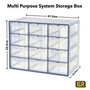 New Sysmax Desktop Multi Purpose System Storage Box with 12 Drawers Partitions