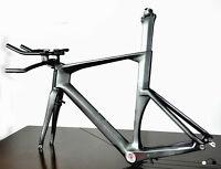 56cm Carbon Time Trial Bike Frame Fork Seatpost Handlebar UD Di2 Triathlon brake