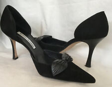 manolo blahnik Shoe Black Suede Pointed Toe Leather Bow High Heel Size 39
