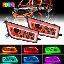 Pair Orange ATV RGB Halo LED Headlights For Polaris RZR XP 1000 4 Turbo 900 900S