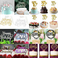 NEW Happy Birthday Cake Topper Pick Topper Spark Glitter Party Favour Gift Craft