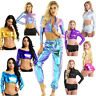Women Metallic Crop Top Shiny Stretch T-shirt Dancewear Blouse Disco Party Tees