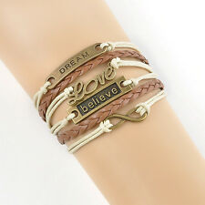 DIY Charm Hot Infinity Believe Dream Leather Cute Charm Bracelet Bangle Bronze F