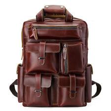 "Luxury Men's Leather 17"" Laptop Weekend Backpack Bookbag College Travel Daypack"