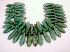 25 5 x 16mm Czech Glass Dagger Beads: Milky Turquoise - Topaz/Pink Luster