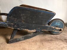 Sweet Old Antique Handmade Child's Wooden Wheelbarrow Original Blue Paint AAFA