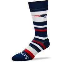 Women's New England Patriots For Bare Feet Soft Stripe Crew-Length Socks