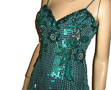 UNWORN 70s-80s LIQUID SEQUIN BEADS RHINESTONES Gown Dress Green Bust 37 LAVISH