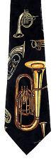 Tubas & Horns Mens Necktie Music Neck Tie Brass Musical Instrument Musician New