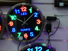 JOB LOT STUNNING LED WALL CLOCK - GREAT GIFT -  MULTI COLOURED - MAINS OPERATED