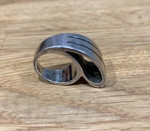 Vintage unusual big silver ring