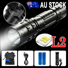 100000LM Tactical Flashlight USB Rechargeable CREE L2 LED Camping Hunting Torch