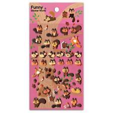 CUTE SQUIRREL STICKERS Puffy Raised Vinyl Sticker Sheet Craft Scrapbook Kawaii