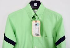 NWT MSRP $495 Thom Browne Shirt Green Check Arm Bands Size1 Small Slim Fit White