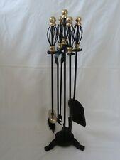 Vintage Fireside Companion Set - Black & Brass Coloured