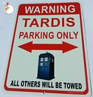 Doctor Who - TARDIS PARKING - ALUMINUM parking sign - TARDIS  Dr. Who, RED SIGN