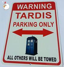 Doctor Who - TARDIS PARKING - ALUMINUM parking sign - TARDIS  Dr. Who, RED SIGN