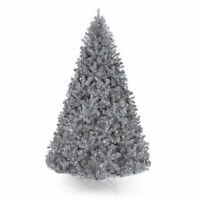 BCP Silver Artificial Tinsel Christmas Tree w/ Foldable Stand