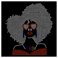 Afro OES Queen Black Pride Rhinestone Bling Transfer Hot Fix Iron On