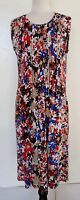 BLUE ILLUSION Red/Blue/White/Black/Taupe Floral Stretch Knit Dress Size M