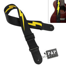 Adjustable Guitar Strap Yellow Lightning Pattern for Acoustic Electric Bass