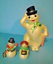Vintage/Old 70's Hand Painted Snowman Figurine With Smaller Snowman Couple